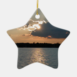 ornament with photo of silver-lining sunset