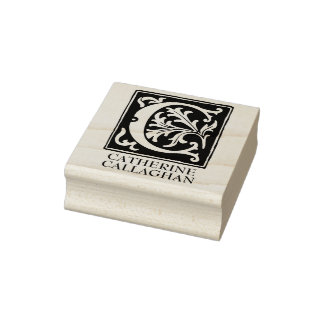 Ornamental Alphabet Letter C Personalized Rubber Stamp