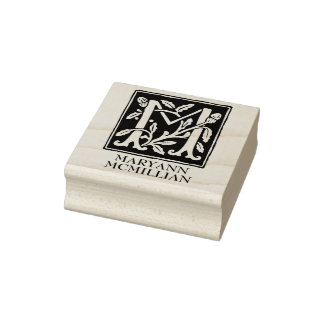 Ornamental Alphabet Letter M Personalized Rubber Stamp