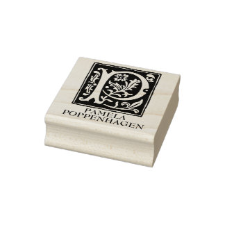 Ornamental Alphabet Letter P Personalized Rubber Stamp