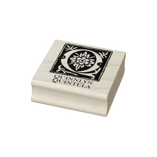 Ornamental Alphabet Letter Q Personalized Rubber Stamp