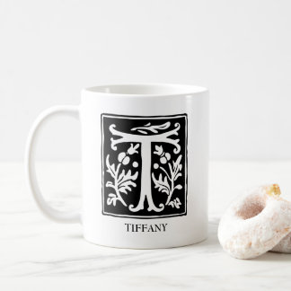 Ornamental Alphabet Letter T Personalized Coffee Mug