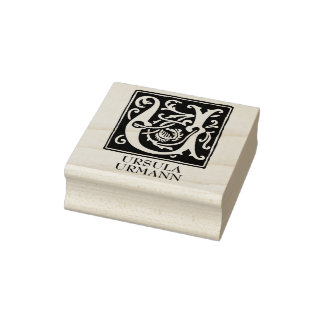 Ornamental Alphabet Letter U Personalized Rubber Stamp