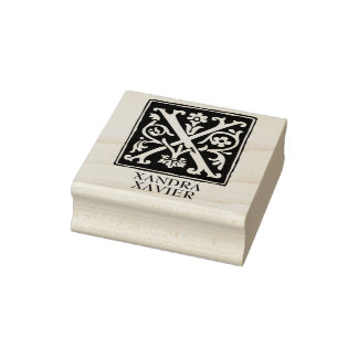 Ornamental Alphabet Letter X Personalized Rubber Stamp