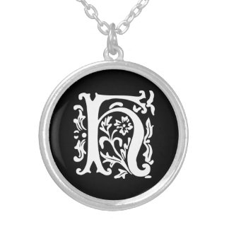 Ornamental Alphabet Monogram Letter H Silver Plated Necklace