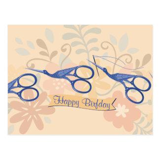 Ornamental bird stork scissors sewing seamstress postcard