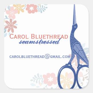 Ornamental bird stork scissors sewing seamstress square sticker