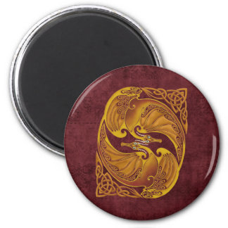 Ornamental Celtic Dragons 6 Cm Round Magnet