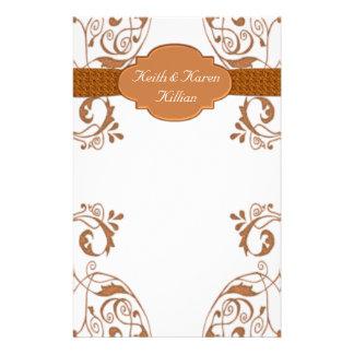 Ornamental Copper & White Stationery Design