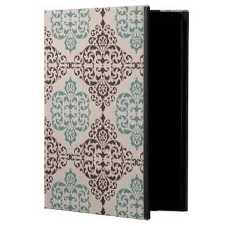 Ornamental Damask Style Pattern in Blue and Brown