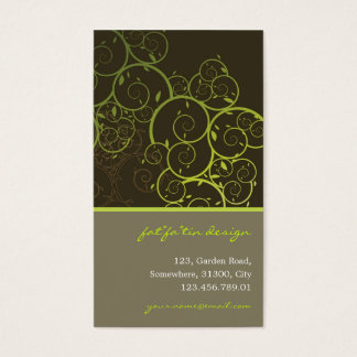 Ornamental Deco Green Spiral Vines Pattern Nature Business Card