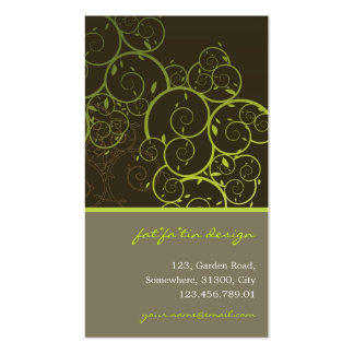 Ornamental Deco Green Spiral Vines Pattern Nature Pack Of Standard Business Cards