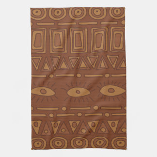 Ornamental earth colored ethnic pattern tea towel