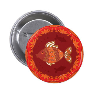 Ornamental fish on ethnic traditional flourish 6 cm round badge