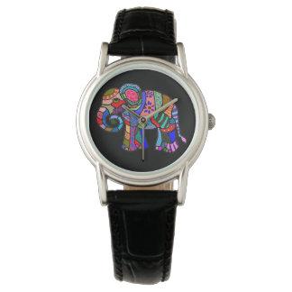 Ornamental folk art hippie style colorful elephant watch