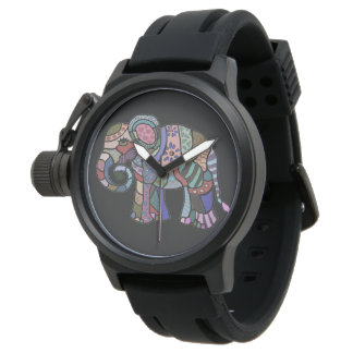 Ornamental folk art hippie style tribal elephant watch