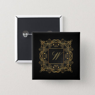 Ornamental Frame Monogram on Black Circular 15 Cm Square Badge