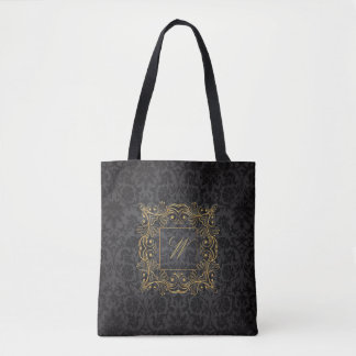 Ornamental Frame Monogram on Black Damask Tote Bag