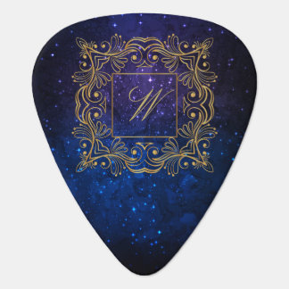 Ornamental Frame Monogram on Blue Galaxy Guitar Pick