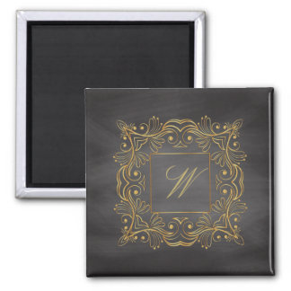 Ornamental Frame Monogram on Chalkboard Magnet