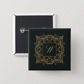 Ornamental Frame Monogram on Dark Leather 15 Cm Square Badge