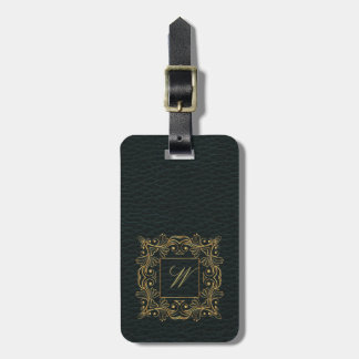 Ornamental Frame Monogram on Dark Leather Luggage Tag