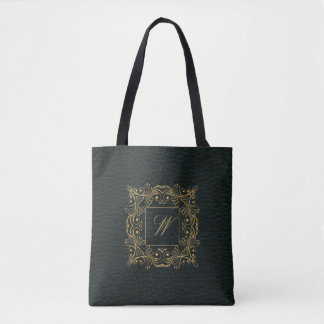Ornamental Frame Monogram on Dark Leather Tote Bag