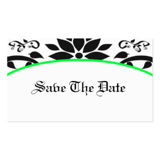 Ornamental Garden (neon green) Save The Date Card Business Cards
