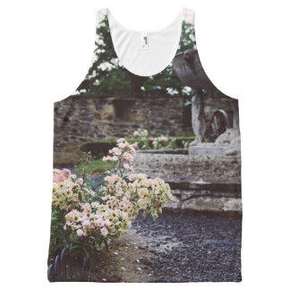Ornamental Garden, Roses and a Fountain All-Over Print Singlet