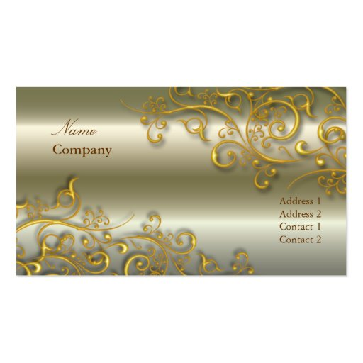 Ornamental/Gilded gold swirls/faux brushed nickle Business Card Template