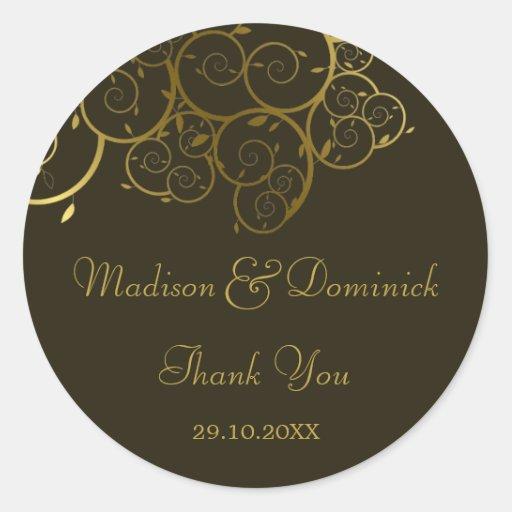 Ornamental Golden Spiral Vine Thank You Sticker