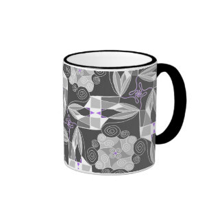 Ornamental Grey With Purple Mugs