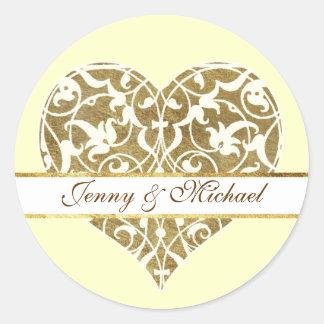 Ornamental Heart Classic Round Sticker