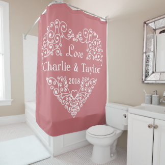 Ornamental Heart custom text shower curtain