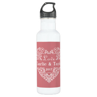 Ornamental Heart custom text water bottles