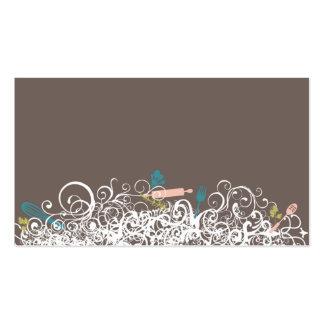 ornamental kitchen utensils business card brown