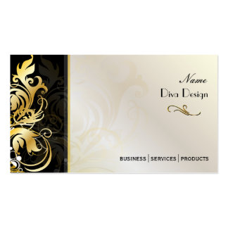 Ornamental leaves/swirls black/gold business cards