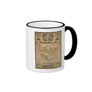 Ornamental Map of The United States and Mexico Mugs