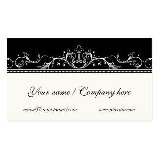Ornamental scrollwork border black, ivory business cards