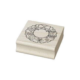 Ornamental Wreath Christmas Rubber Stamp