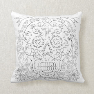 OrnaMENTALs #0028b Sugar Skulls Color Your Own Cushion