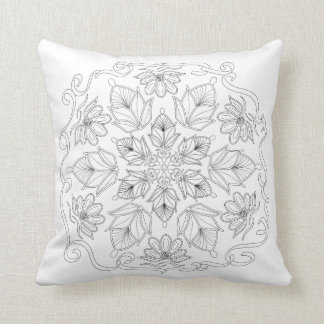 OrnaMENTALs #0029 Buds and Blooms Color Your Own Throw Pillow