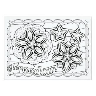 OrnaMENTALs Freedom Stars & Stripes Color Your Own 14 Cm X 19 Cm Invitation Card