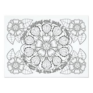 OrnaMENTALs True Love Ladybugs Color Your Own 14 Cm X 19 Cm Invitation Card