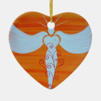 "Ornamentation ""angel for soul partners "" ceramic heart decoration"