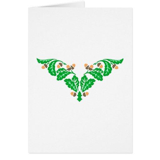Ornamentation of oak sheets acorns oak leaves acor card