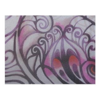 Ornamentations in purple postcard