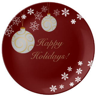 Ornaments and Snowflakes Happy Holidays Plate Porcelain Plate