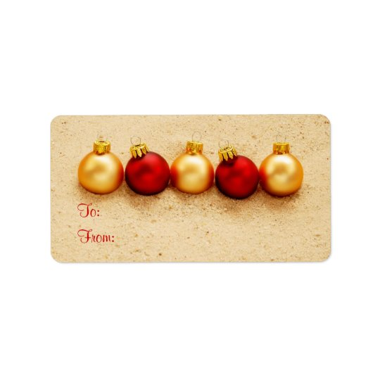 Ornaments at the Beach Gift Tag Label