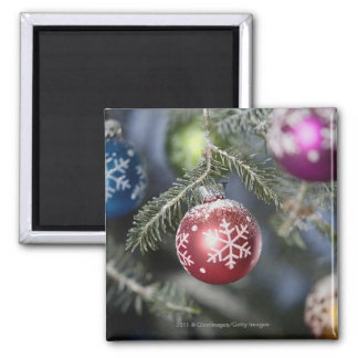 Ornaments on a Christmas tree Square Magnet